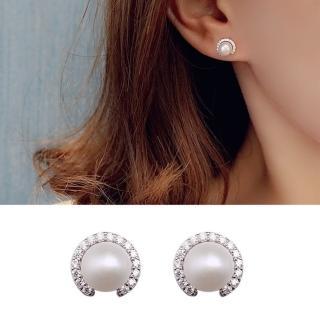 【Emi 艾迷】韓國925銀針夢幻日出印象細膩珍珠鋯石耳環