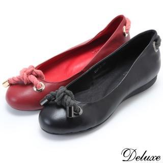【Deluxe】全真皮典雅圓頭金屬飾扣蝴蝶結小厚底娃娃鞋(紅☆黑)