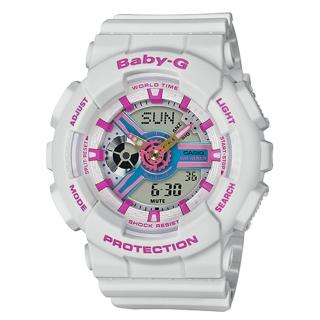 【CASIO 卡西歐】BABY-G 90年代色彩 雙顯女錶 樹脂錶帶 藍X紫色錶面 防水100米 世界時間(BA-110NR-8A)