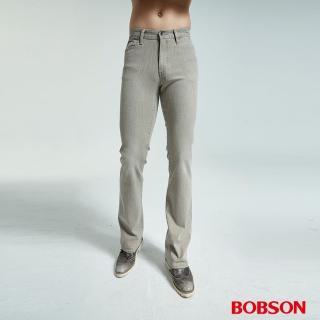 【BOBSON】男款結紗伸縮卡其直筒褲(1688-72)