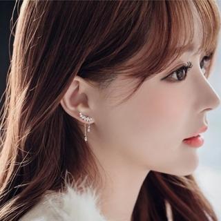 【Emi 艾迷】韓國925銀針完美天使羽翼點鑽垂墜鋯石耳環