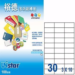 【Unistar 裕德】3合1電腦標籤 US4456(30格 100張/盒)