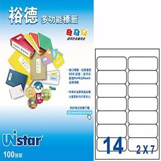 【Unistar 裕德】3合1電腦標籤 US4678(14格 100張/盒)