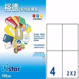【Unistar 裕德】3合1電腦標籤 US4676(4格 100張/盒)