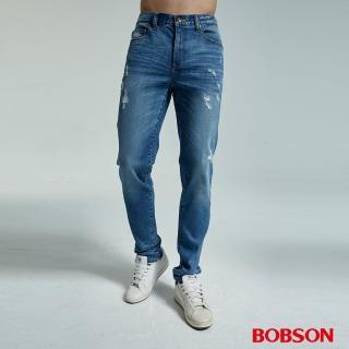 【BOBSON】男款低腰有機棉刷破直筒褲(1827-53)