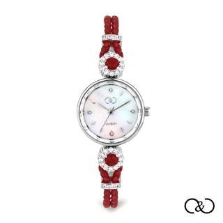 【C&C】簡約經典皮繩圓腕錶(紅×銀)