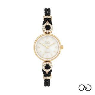 【C&C】簡約經典皮繩圓腕錶(黑×金)