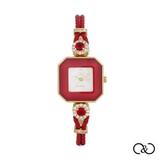 【C&C】簡約經典皮繩方腕錶(紅×金)