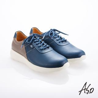 【A.S.O 阿瘦集團】霸足氣墊 綁帶拼色牛皮氣墊休閒鞋(藍色)