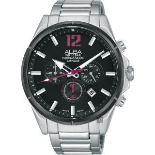 【ALBA】雅柏 ACTIVE 活力運動計時手錶-黑x銀/43mm(VD53-X297D  AT3D31X1)