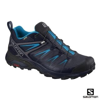 【salomon】低筒登山鞋 GORETEX 防水 男 X ULTRA 3(石墨黑/夜空藍/蔚藍)