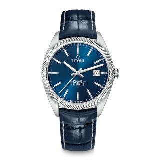 【TITONI 梅花錶】宇宙系列 878 S-ST-612 紳士藍/皮帶/41mm(878 S-ST-612)