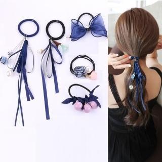 【梨花HaNA】韓國浪漫花漾蕾絲緞帶珍珠髮圈華麗5件套組