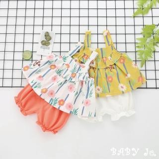 【BABY Ju 寶貝啾】夏日清涼花草背心兩件套裝(黃色 / 橘紅色)
