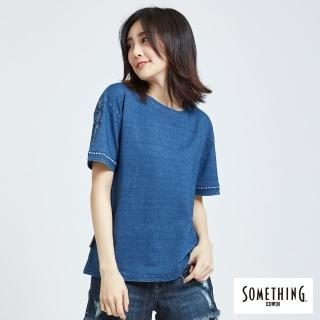 【SOMETHING】刺繡圖騰圓T(漂淺藍)
