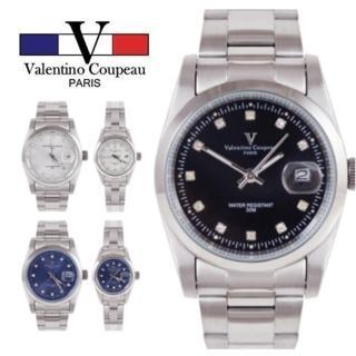 【Valentino Coupeau】范倫鐵諾 古柏 簡約晶鑽時刻不鏽鋼殼帶防水男女款手錶