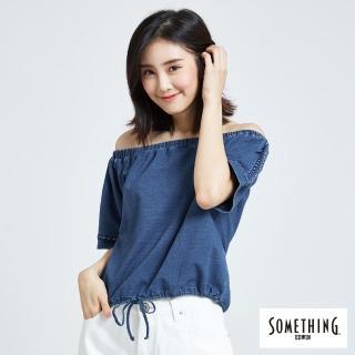 【SOMETHING】一字領刺繡圓T(漂淺藍)