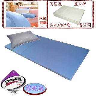 【Valentino Rudy 范倫鐵諾.路迪】單人吸濕排汗日式透氣床墊+透氣枕+純綿床包超值組