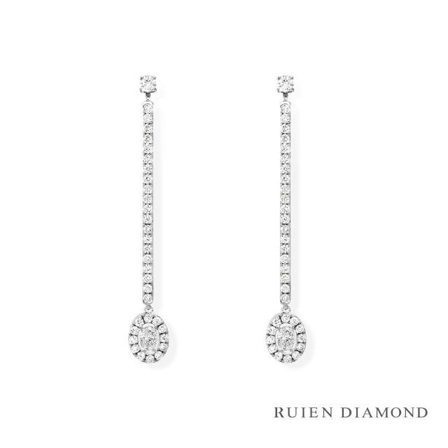 【RUIEN DIAMOND 瑞恩鑽石】輕珠寶系列 8分 鑽石(14K白金 鑽石耳環)