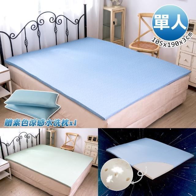 【格藍傢飾】100%頂級天然乳膠防蹣涼感單人床墊&素色涼感水洗枕(夏晶藍/夏晶綠)/