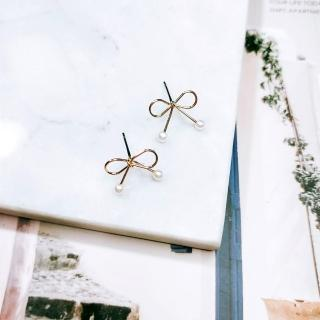 【Ada】經典氣質韓系高質感小蝴蝶結珍珠耳環(造型耳環)