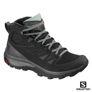 【salomon】中筒登山鞋 GORETEX 防水 女 OUTline(黑/磁灰)