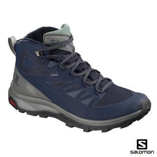 【salomon】中筒登山鞋 GORETEX 防水 男 OUTline(藍/灰綠)