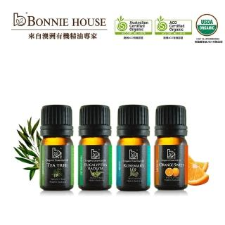 【Bonnie House】雙有機精油入門組_尤加利5ml+茶樹5ml+迷迭香5ml+保加利亞薰衣草5ml