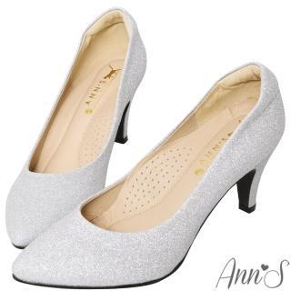 【Ann'S】睡美人-訂製晶鑽3D氣墊尖頭高跟鞋(銀)