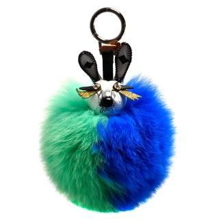 【MCM】PUNK RABBIT兔子造型塗層帆布狐狸毛球鑰匙圈/吊飾(綠X藍MYZ-8AXL08-CO001)