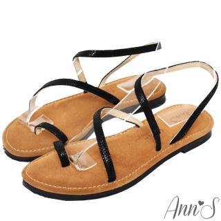 【Ann'S】水洗牛皮-時髦蛇紋顯瘦曲線寬版平底涼鞋(黑)