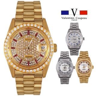 【Valentino Coupeau】范倫鐵諾 古柏  滿天星鑽自動上鍊機芯不鏽鋼殼帶手錶(兩款)
