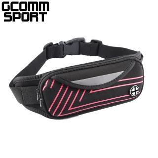 【GCOMM】GCOMM SPORT 雙袋防汗水音樂運動腰包 直條紅(運動腰包)