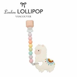 【Loulou lollipop】加拿大 嬰幼兒草尼馬造型 固齒器組/奶嘴鍊夾-棉花糖