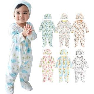 【Baby童衣】寶寶連身衣 純棉長袖包腳爬衣及嬰兒帽  2件組 50517(共5色)