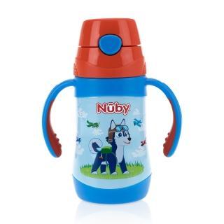 【Nuby】不鏽鋼真空學習杯細吸管-領航犬_280ml