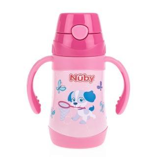 【Nuby】不鏽鋼真空學習杯細吸管-花漾犬_280ml