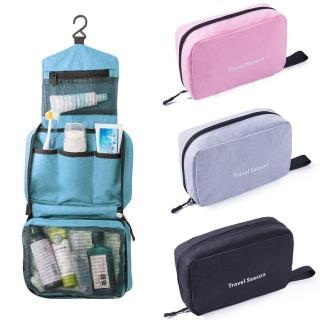 【Leslie】可掛式化妝包 盥洗包 防水摺疊旅行盥洗收納包 旅遊收納 登山露營 男女包 行李箱(多色可選)