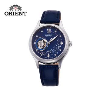 【ORIENT 東方錶】HAPPY STREAM系列 藍月奇蹟鏤空機械錶 皮帶款 藍色 - 36mm(RA-AG0018L)