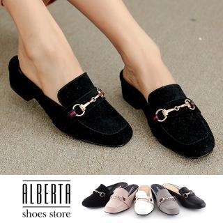 【Alberta】穆勒鞋-MIT台灣製 跟高4cm 簡約純色 穆勒鞋 包頭拖鞋