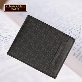 【Roberta Colum】諾貝達 男用皮夾 短夾 專櫃皮夾 進口牛皮配乳膠短夾(28903-黑色)