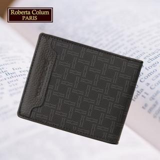【Roberta Colum】諾貝達 男用皮夾 短夾 專櫃皮夾 進口牛皮配乳膠短夾(28904-黑色)