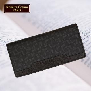 【Roberta Colum】諾貝達 男用皮夾 長夾 專櫃皮夾 進口牛皮配乳膠短夾(28908-黑色)
