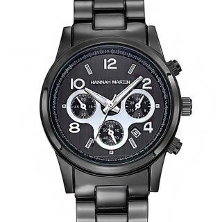 【HANNAH MARTIN】魅黑三眼裝飾不鏽鋼腕錶(HM-1038-H)