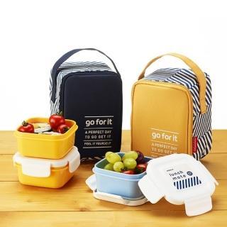 【索樂生活】韓國KOMAX 迷你餐盒三件組附提袋(居家戶外登山露營野餐盒水果盒便當盒保溫袋保冷袋)