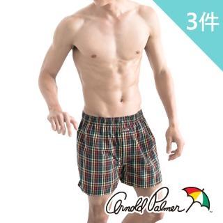 【Arnold Palmer】經典格紋平織平口褲-買2送1件組(平織平口褲/M-XL)