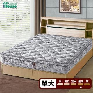 【IHouse】Minerva 摩德納 科學護脊天絲高碳鋼獨立筒床墊(單大3.5x6.2尺)