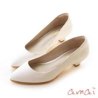 【amai】百搭素面金屬夾心尖頭低跟鞋(白)