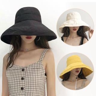 【幸福揚邑】超大帽檐防曬抗UV可捲摺桃絨遮陽帽(黃駝、米、黑)