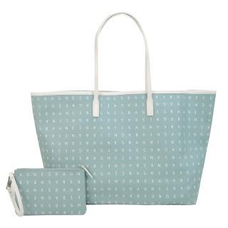 【agnes b.】標誌印花雙面二用托特包附手拿包(大/水藍)